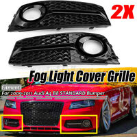 Glossy Black Front Standard Bumper Fog Light Cover Grille Grill For Audi A4 B8