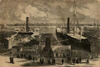 Algonquin & Winooski Steam Ships at Dock New York City 1865 Harper's Weekly