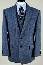 Recent Harris Tweed 2 piece set wool sport coat blazer & vest gray/blue 40R M