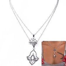Fashion Jewelry Women Boho Opal Flowers Pendant Choker Multi-layer Necklace New