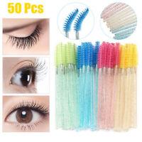 50Pcs Eyelash Makeup Brushes Disposable Mascara Wands Applicator Lash Extention