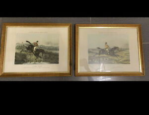 2  x Fores's Hunting Casualties No 2 und 4 1850 Jagd Reiter England Stich