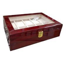 Box Scatola Cofanetto Con Vetrina Porta Orologi Bracciali 10 Posti In Legno lac
