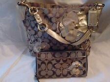 COACH Applique Daisy Khaki w/Gold Trim Canvas Shoulder Bag & Matcing Wallet