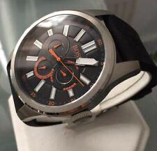 Mens Genuine Hugo Boss Orange Day Date Designer Watch Black rubber 1512933