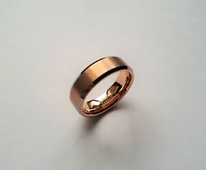 MENS TUNGSTEN CARBIDE RING ROSE GOLD BRUSHED BEZEL EDGE WEDDING ENGAGEMENT GIFT