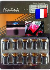 Kit Keiti® 10 boulons M5*15 alu dorés anodisés universel pour bulle pare-brise