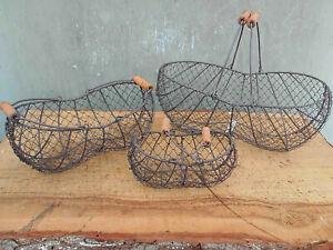 3er-Set Drahtkorb Kartoffelkorb Erntekorb Obstkorb Pilzkorb rustikal-braun (579)
