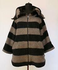 Zara Brown Black Striped Lagenlook Arty Boxy Warm Wool Blend Coat Jacket Size M