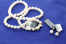 "Mikimoto Blue Lagoon 6.0-6.5mm White Pearl 18"" Necklace & Stud Earrings Set"