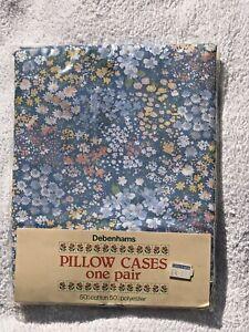 Vintage Debenhams Unused Pair of Pillowcases - blue ditsy floral, Sealed
