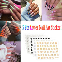 Holographic Letter Nail Art Stickers Thin Laser Silver DIY Foil Decal Sticker UK