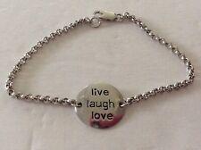 "Sterling 925 Silver Live Laugh Love 7"" Engraved Bracelet Estate Jewelry"