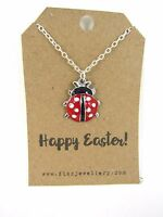 Girls Happy Easter Red Enamel Ladybird Silver Plated Necklace Message Card Gift