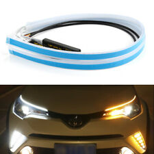 """2x 24"""" Ultrafine LED Headlight Strip Light Sequential Flow Signal White Ambe"""