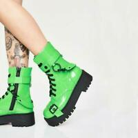 Womens Ankle Boots Lace Up Buckle Creeper Platform Ladies Combat Goth Shoes Punk