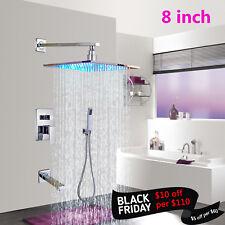 """Chrome Bath 8""""LED Shower Faucet Tub Spout Rainfall Mixer Tap W/Hand Shower Set"""