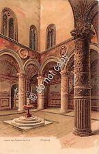 Cartolina Firenze Illustrata Gino Panerai Palazzo Vecchio Interno primi '900