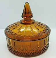 Vintage Amber Indiana Glass Covered Candy Dish, Princess Pattern