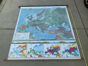 """Vintage Nystrom (Pull-Down) School Map (70"""" X 62"""")"""
