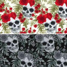100% Cotton Poplin Fabric Rose & Hubble Skulls & Roses Halloween Spooky Skull