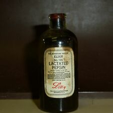 """2"""" TALL BOTTLE WITH ORIGINAL CORK - LACTATED PEPSIN ELIXER - ELI LILLY"""
