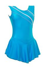 Skating Dress Kingfisher LYCRA / Metalic stripes NO SLEEVE ALL SIZES AVAILABLE