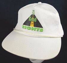 On the Road for Rights Hat Ajustable White Ball Cap Braided Detail