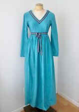 VGC Vtg 70s Blue Velour Maxi Lounge Dress Hostess Gown Tyrolean Ribbon Trim XS/S