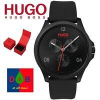 Hugo Boss 1550034 Men's Risk Multi Dial Black Silicone Strap Watch BOXED NEW