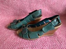 Clarks Green Leather Wedge Heels Size 4