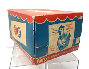 1950's Vintage Fisher Price Cackling Hen #120 Pull Toy Box (BOX ONLY)