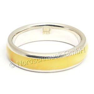 Bernstein Ring milchig Intarsie Bandring Bernsteinring 925er Silber Größe 50-68