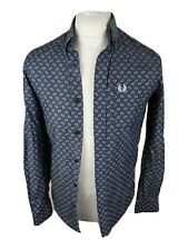Mens Fred Perry X Drakes Paisley Shirt Blue Xs 36 Chest Vgc