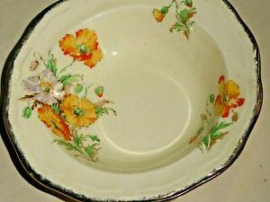 Marquis Shape Marigold Alfred Meakin England Bowl Gold Rim Poppies Yellow Orange