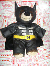 "BUILD A BEAR BROWN BEAR in BATMAN OUTFIT & CAPE 16"" PLUSH STUFFED DARK KNIGHT"