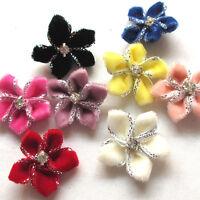 8/24PCS Velvet Ribbon Flowers Bows W/beads Appliques Wedding Decor 25mm Mix A451