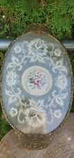 Vintage Victorian Glass Vanity Tray Embroided Petit Point Lace Metal Oval