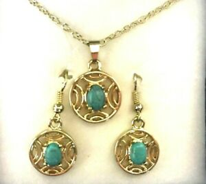 Jewelry Set Necklace Pierced Earrings Gold Overlay Chain Faux Turquoise Stone