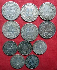 6 x 1 Mark Kaiserreich und 5 x ½ Mark, Silber !