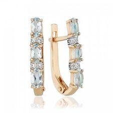 Neu Russische goldene Ohrringe mit TOPAZ 585 14K Russian jewelry gold earring 3g