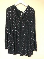 Sheego By Curvissa 26-28 Top Black Pink Spots New Worth £35