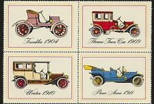 Cinderella Vintage Automobile Stamp Labels Perforated Block of 4 Different Mint