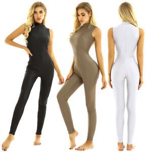 Women's High Neck Rompers Bodycon Jumpsuit Party Unitard Yoga Dancewear Bodysuit