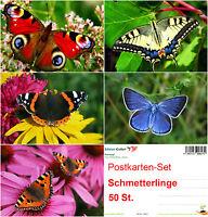 SCHÖNE SCHMETTERLINGE: 50-er Postkarten-Set / Ansichtskarten, 5 Motive x 10 St.