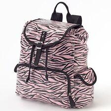 Candie's Zebra Pink & Black Sequin Backpack Women's Girl's Bag $70 retail - NWT