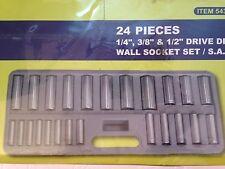 "New 24 Piece 1/4"", 3/8"" & 1/2"" Drive Deep Wall Socket Set  S A E Ram Tools"