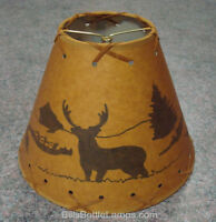 "Rustic ""Bulb Clip"" DEER Scene Table Desk Light LAMP SHADE Cottage Cabin Decor"