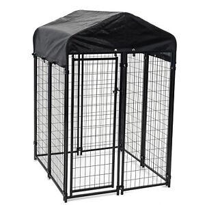 Lucky Dog 4' x 4' x 6' Uptown Welded Wire Outdoor Dog Kennel w/ Waterproof Cover