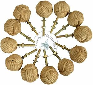 12 Knotty Door knobs - Nautical Drawer pulls - Jute Rope Drawer pulls a